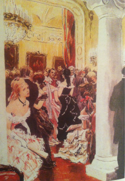 Can you spot Anna in her black ball gown ?  Beautiful illustrations by O. Vereisky for 'Anna Karenina'.
