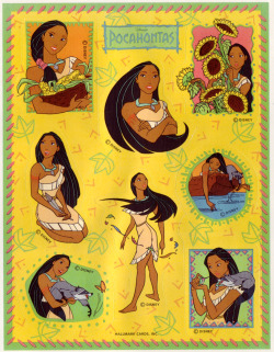 taijasinspiration:  Hallmark Disney's Pocahontas sticker sheet, 1995/96.