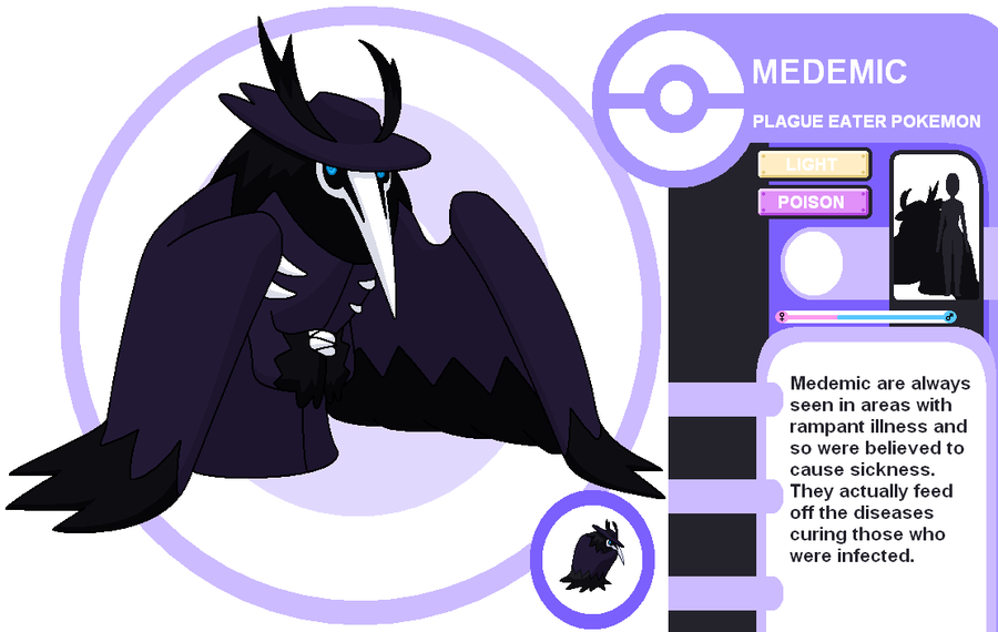 fantasticfakemon:  Amazing Fakemon based on plague doctors. Medemic Light / Poison Source. Artist: deidara-fuuka