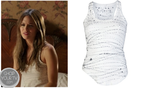 This is the cute white tank top with a paint splatter pattern that Zoe Hart (Rachel Bilson) wore as a pajama top in this week's episode of Hart of Dixie.  It is the Raquel Allegra Wife lover tie-dye tank.  You can buy her tank top HERE for $145.