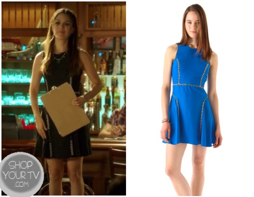 Zoe Hart (Rachel Bilson) wears this cute black skater dress with a white striped lining in this week's episode of Hart of Dixie.  It is the Parker Sleeveless Dress.  It is sold out, but you can see the listing HERE.