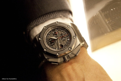 thewatchspotter:  First live shot of the @audemars_piguet @realschumacher in the flesh…. Courtesy of Oliver and PuristsPro.