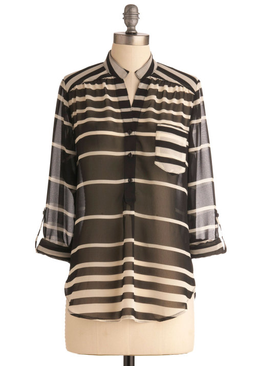 We love stripes of all colors and sizes! Shop the Smart Stripes Top.