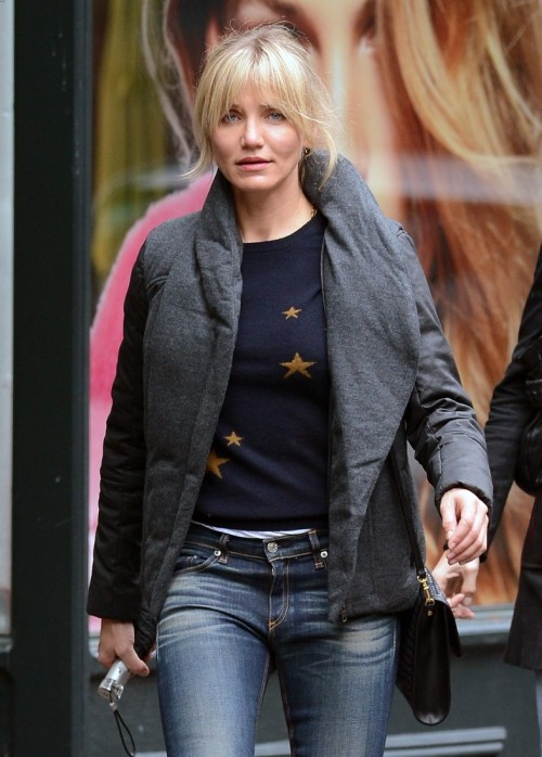SPOTLIGHT.  Cameron Diaz around town in NYC wearing the AW12 HELMUT Sonar Wool 2-Piece Puffer.