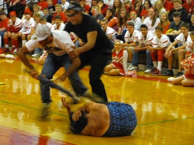 A High School Reenacted Chris Brown's Beating of Rihanna (with Blackface) Last Friday, Waverly High School in New York state hosted a pep rally for their sports teams—fanfare, mascots, jocks, cheerleaders—all good, clean, American fun. Then, because it makes total sense to do this in this context of an official high school jamboree, three white kids in blackface took center stage and performed a skit depicting that time Chris Brown savagely beat Rihanna to within an inch of her life and tried to throw her out of a moving car. Good, clean, American fun. Obviously people on the internet are pissed off about it, so I tracked down a guy who goes to the school, is friends with the people in the skit, and just wants all this nasty stuff about his racist pals to go away. Here's what he said. VICE: So, what went down at this pep rally, exactly?Student: A kid dressed as Chris Brown acted like he hit a girl with an umbrella, but he didn't actually hit her. Then someone dressed as a cop tackled him, handcuffed him, and it was over. Were you involved?All I'm really going to say is that I know the people who did the skit. They're my best friends and they are in no way racist. The thing everyone's calling blackface was horrible back in the day when racism was huge, but there are so many actors and actresses dressing up as every ethnicity nowadays. It's not the 1920s anymore, it's 2012. Right, it's not. But surely it's still offensive?The people who did the skit were just playing a character—it's the same thing as what the actors did inWhite Chicks. It wasn't a big deal and I know a lot of other people feel the same way as I do about how it wasn't racist. We aren't taught that blackface is wrong at school because it's a different age now. It's not showing disrespect to anyone, it's just playing a character. CONTINUE