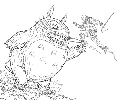 bourbonthret:  Yet another Shaolin Cowboy vs. Totoro!