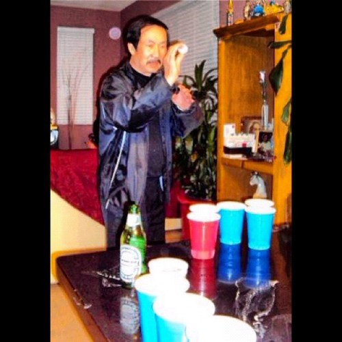 My Dad will fuck your Dad up at beer pong #OG #asiangangster #BaOne #BAER1 #beerpong #vietnam #fuckcommunismimheretoplaybeerpong @mypops