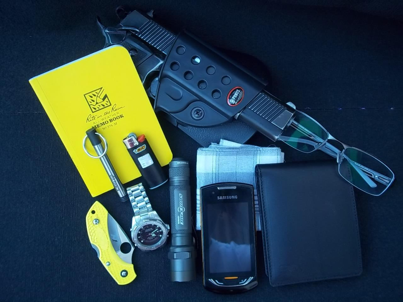 EDC By: Itamar D. Imbel MD5 .40 SW Fobus Holster - Purchase on Amazon Rite in the Rain Memo Book - Purchase on Amazon Inka Pen - Purchase on Amazon BIC Lighter - Purchase on Amazon Spyderco DragonFly 2 Salt - Purchase on Amazon Technos Skydiver Surefire E2E + Veleno Designs - Purchase on Amazon Handkerchief - Purchase on Amazon Samsung Monte - Purchase on Amazon Ralph Lauren Wallet - Purchase on Amazon Glasses