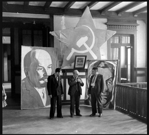 Chilean Communist Party members Elias Lafertte, Galo Gonzalez and another companion during preparations for the commemoration of the October Revolution.