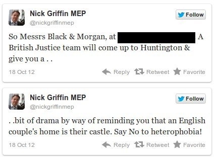 Nick Griffin tweets gay couple's address, incites homophobic mob