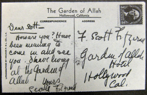 explore-blog:  A lonely F. Scott Fitzgerald sends himself a postcard, a postal stunt outshone only by the Englishman who mailed himself.  A different take on sending yourself flowers on Valentine's Day, perhaps? (Source: Flavorwire)