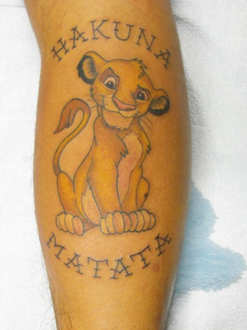 fuckyeahtattoos:  My Lion king Tattoo done at Good Point Tattoos- Oakville ON. by Luke Colavecchi. It was done on my right calf