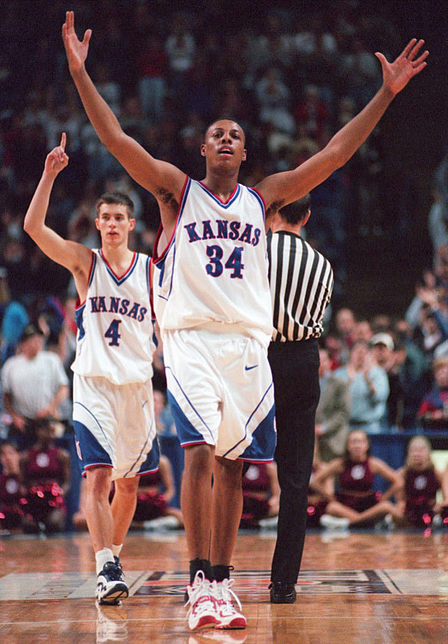 Kansas forward Paul Pierce celebrates after defeating Oklahoma to win the 1998 Big 12 Tournament. This year's Jayhawks squad is ranked No. 7 in Luke Winn's preseason rankings, as guards Elijah Johnson, Ben McLemore and Travis Releford will make life hellish for opposing backcourts. (AP) POWER RANKINGS: Find out where your favorite team ranksGALLERY: Classic Photos of Kansas Jayhawks basketball