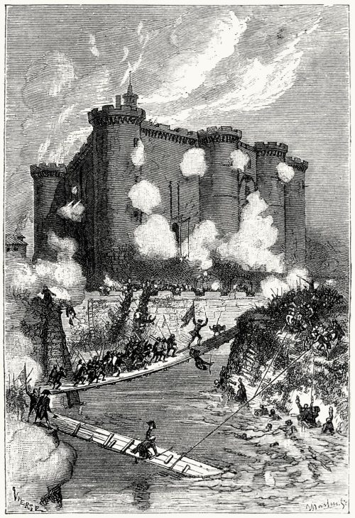 oldbookillustrations:  The storming of the Bastille. Daniel Vierge, from Histoire de la révolution française (History of the French revolution) vol. 1, by Jules Michelet, Paris, 1883-87. (Source: archive.org)  My ancestor died in this. (He was probably an ass.)