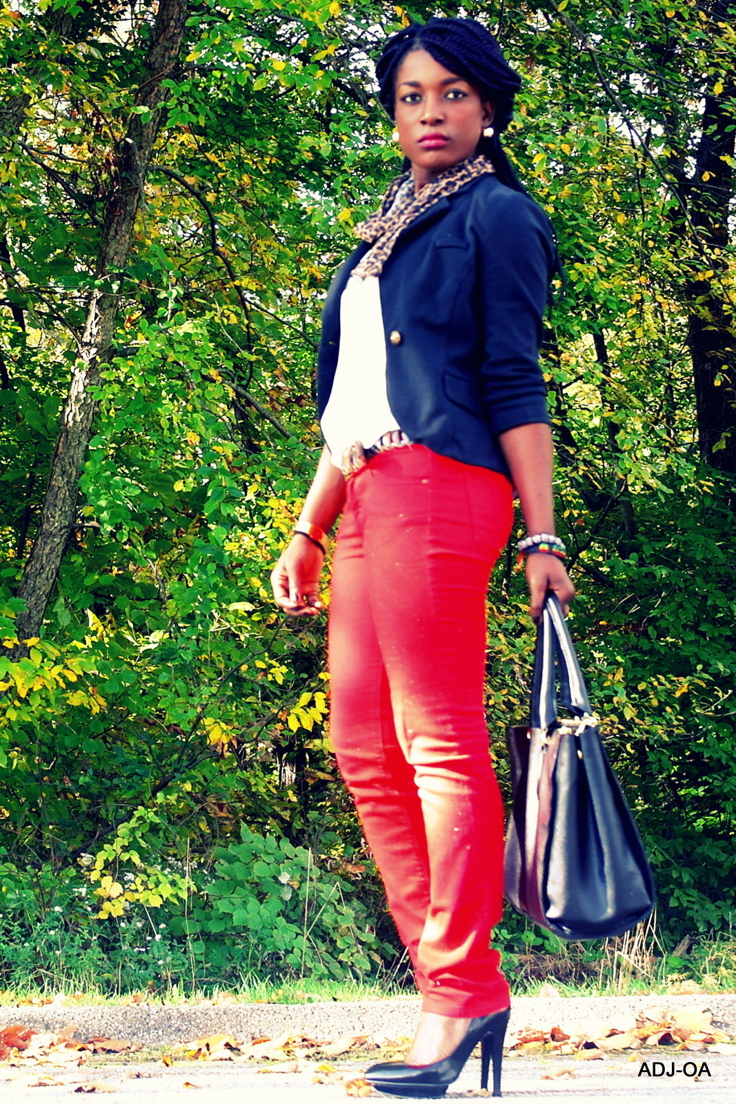 Black Blazer: Oxford and reagent // Shear white top: The Ross// Red Jeans: NY&Co// Black Heel: Joey// Black Purse: Colab (Christopher Kon) Scarf: Borrowed // Gold Watch: Guess// Bracelets and earrings: Ghana// Necklace: Thrifted Lau of myprojectsidewalk.tumblr.com/ #Blackfashion On FacebookTwitter @BlackFashionbyj