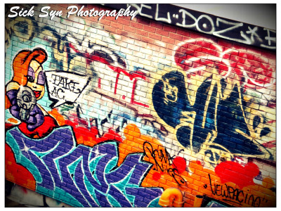 Roof Top Graffitiby ~SynfulSick Photography / Urban & Rural / City Life©2012 ~SynfulSick   Jessica Rabbit & Graffiti; Roof Top, China Town NYC