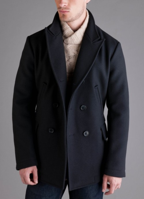 howtotalktogirlsatparties:  James Bond is wearing this Billy Reid peacoat in Skyfall.  I am not a fan of the peacoat itself but Daniel Craig makes it look GREAT.