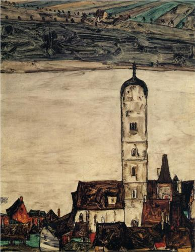 german-expressionists:  Egon Schiele, Church in Stein on the Danube, 1913