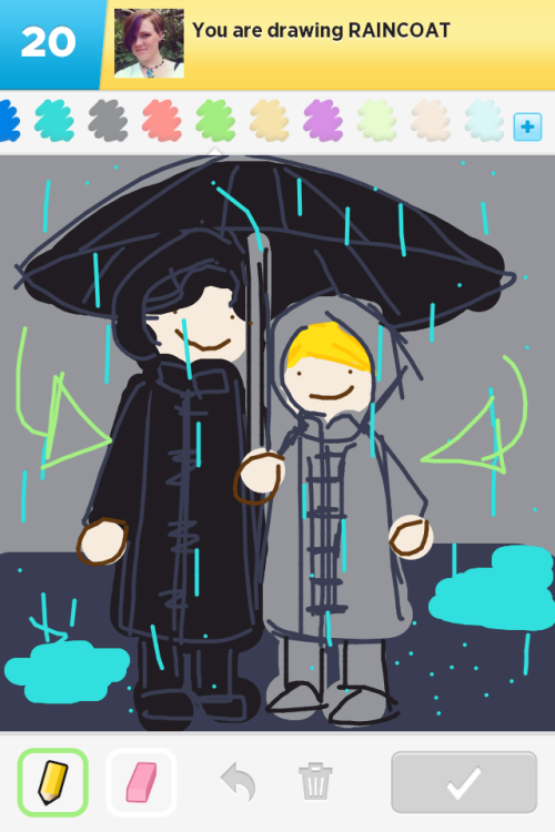 "drawsomesherlock:  ""Raincoat""  oh my adorbs"