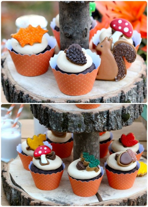 gastrogirl:  chocolate cupcakes with peanut butter frosting and mini fall cookies.