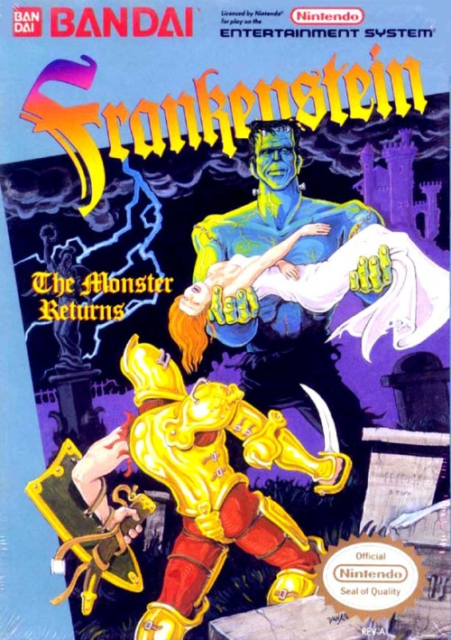 At the big VGJunk site today: NES title Frankenstein: The Monster Returns! Yes, the monster's name is Frankenstein. I cover it in the article, it's fine. Also featured are questions of monster hierarchy, Medusa's awkward flirting, unidentifiable purple things and Frankenstein's dickish nature. You can read all about it here!