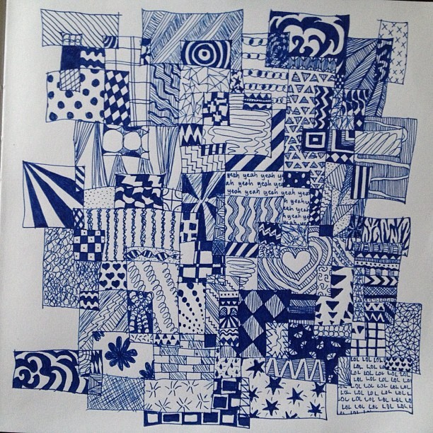 Done👌 #art #drawing #squares #blue #pen
