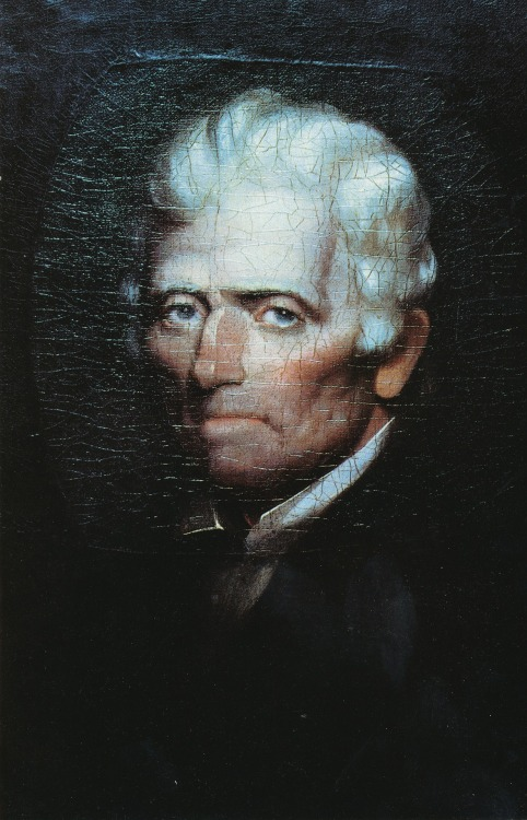 """Eyes of a hunter gaze from a portrait of Daniel Boone, painted on oilcloth in 1820 by Chester Harding from an oil sketch made just three months before Boone's death, at age 85, in Missouri."" (December 1985)."