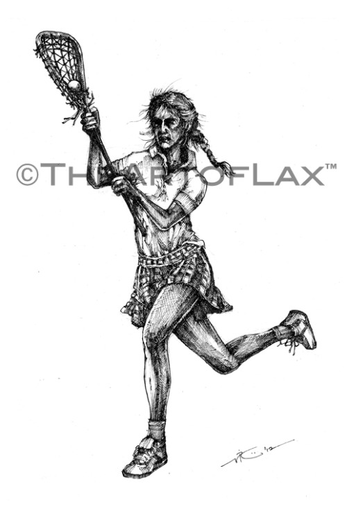 """Lax Girl Retro"" 8x12 inches. Pen & ink on heavy watercolor paper. For the OLD SCHOOL female laxers! Now available for purchase at The Art of Lax™. LIKE on Facebook. Follow @TheArtofLax"