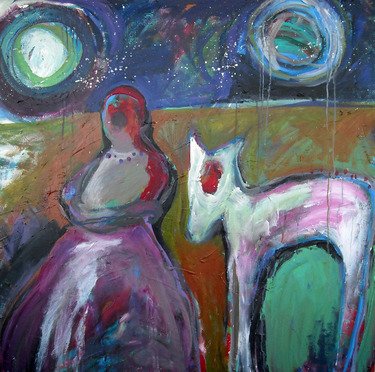 Check out this great piece of art on Saatchi Online. Red and the wolf by Lorie McCown