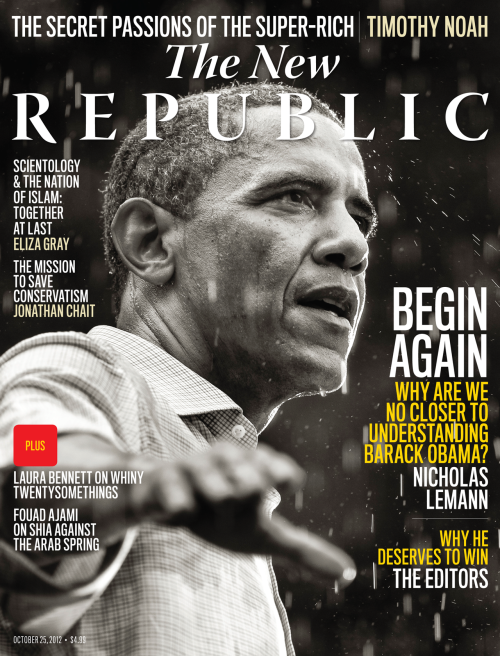 ICYMI Tumblr fans, the October 25th issue of The New Republic is out, with pieces by Nicholas Lemann on the inscrutable Barack Obama, Cass Sunstein on law, economics, and psychology in consumer markets, Helen Vendler on the poems of Dante, and Jonathan Chait on the future of conservatism. Check it out and subscribe http://bit.ly/R9TWOZ