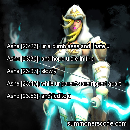 Exhibit 121 Ashe [23:23]: ur a dumb asss and i hate uAshe [23:30]: and hope u die In fireAshe [23:37]: slowlyAshe [23:47]: while ur parents are ripped apartAshe [23:56]: and fed to u (Thanks to i-always-hit-my-targets for the quote!)