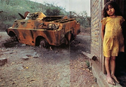 """Endless war and upheaval have stolen Christina Blandon's childhood.  Next to her home in northern Nicaragua lies a Soviet-built reconnaissance vehicle disabled by rebels."" (December 1985)"
