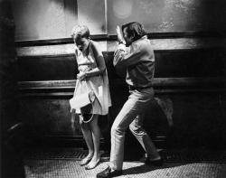 Roman and Mia block a scene on the set of ROSEMARY'S BABY