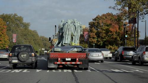 installator:  Rodin's Burghers of Calais, traveling down the Benjamin Franklin Parkway, from the Rodin Museum to the Philadelphia Museum of Art, where they will cleaned.  To be re-installed at a later date…