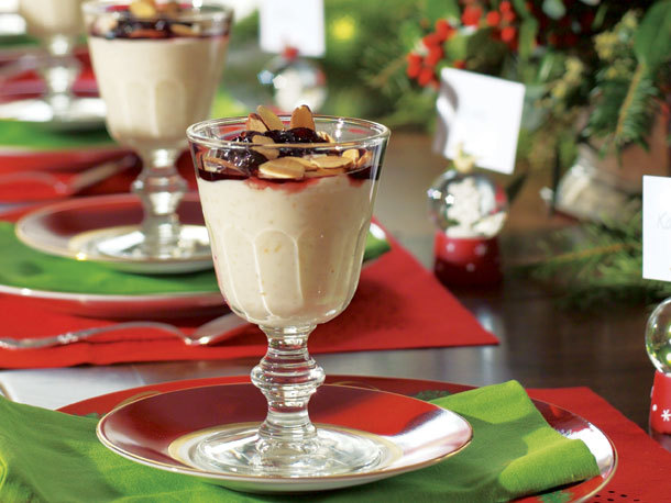White Chocolate Rice Pudding with Dried Cherry Sauce