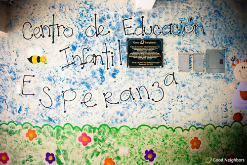 A Good Neighbors dedication plaque on the inside of Esperanza School in Loma Blanca, Guatemala, a school we built for elementary children in October 2011.