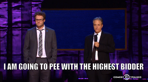 You have not truly peed until you've peed with Seth Rogen. Click the image to watch Seth and Jon Stewart auction off this urinique peeportunity on Night of Too Many Stars, airing tomorrow at 8/7c.