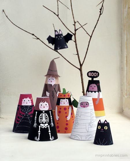 DIY Mr. Printables' Cone Girls for Halloween here. There is a link at this post to download the original cone girls.