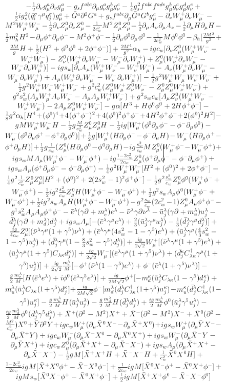 procrastinatingquarks:  The Standard Model Lagrangian!(in its post-electroweak symmetry breaking expanded form, aka non-elegant representation =p)  asdf…