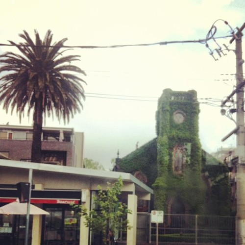 On the way to work - saw this vine covered church #stkilda #dailygrind #melbourne