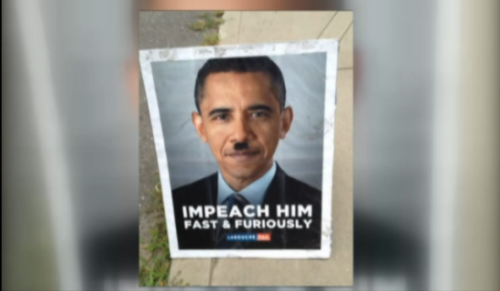 80-year-old charged after tearing down Obama Hitler posters (Photo: NBCConnecticut.com) In the midst of a heated political season and with the election just weeks away, you expect to see political signs everywhere; but a controversial sign in Hebron, Conn., got a woman riled up, and arrested. Read the complete story.