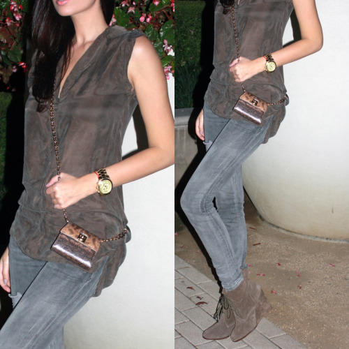 Fall night's the Cali way.   Top by BB Dakota Jeans by Current Elliott Purse by Salvatore Ferragamo Booties from Zara