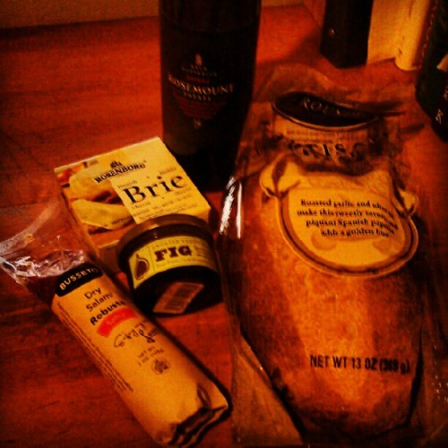 It's been a long day…#shiraz #brie #fig #salami #bread #food