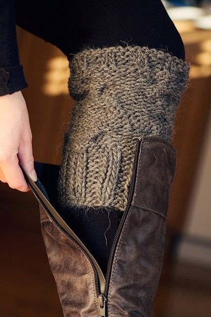 DIY Cozy Boot Socks This is a great way to upcycle an old sweater. If you have some fuzzy sweaters that have fallen victim to moths or stains, cut off the sleeves to use as sock look-a-likes. It will convey a warm and stylish vibe without adding extra bulk lower in the boot.