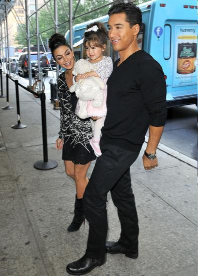 Mario Lopez, fiance Courtney Mazza and their daughter Gia out in NYC