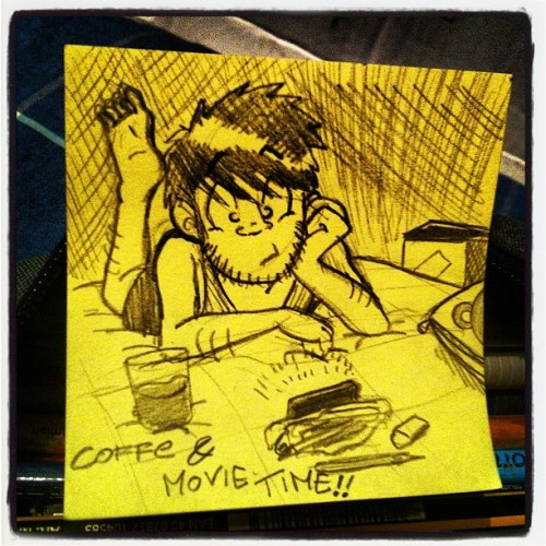 Now, after a great #evening, coffee & #movie time!!! Yeah!!! #postit #lrn #youtube