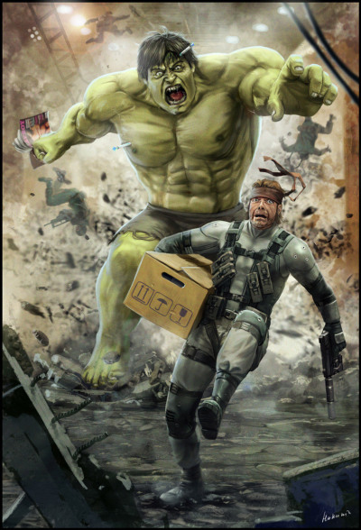 Solid Snake VS Hulk by *Hokunin