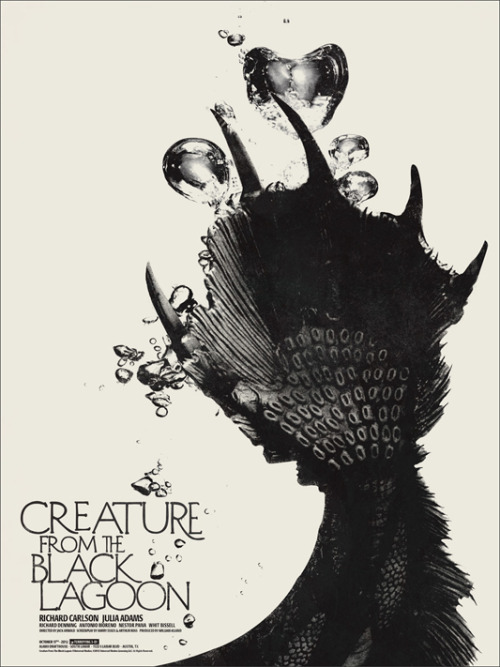 greggorysshocktheater:  Jay Shaw's The Creature From The Black Lagoon poster sold at the Alamo Drafthouse in Austin, Texas last night after the screening of the film in 3-D.