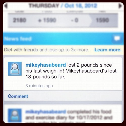 4 weeks in, 13 lbs down. Getting it. #fitness #myfitnesspal #pma