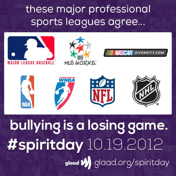 Huge news! These sports leagues are all standing against bullying for #SpiritDay 10/19! Tell which one you are most excited about in the comments.Go purple for #SpiritDay 10/19: http://glaad.org/spiritdayhttp://www.glaad.org/blog/nba-wnba-mlb-mls-nfl-nhl-nascar-diversity-all-support-spiritday